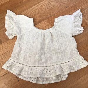 Zara girls white Swiss embroidery shirt
